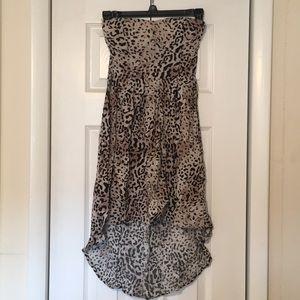 Leopard Print Strapless High-Low Dress
